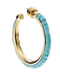 Michael Kors | Blue Golden Hoop Earring with Turquoise Bead Detail | Lyst