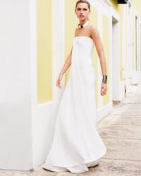 Ralph Lauren Black Label - White Strapless Draped Gown - Lyst