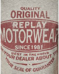 Replay - Gray Motorwear Tshirt for Men - Lyst
