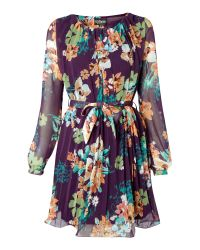 Sodamix | Purple Floral Belted Dress | Lyst