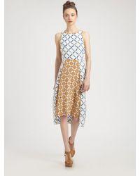Tibi | Beige Silk Crepe de Chine Midi Dress | Lyst