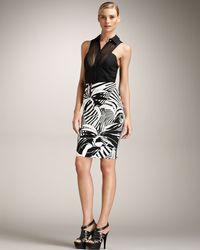 Versace | Black Tropicalprint Pencil Skirt | Lyst