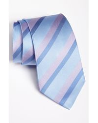David Donahue | Blue Stripe Silk & Cotton Tie for Men | Lyst