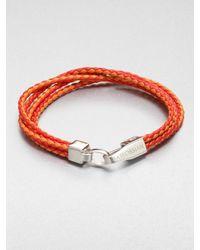 Tateossian - Metallic Braided Leather Bracelet for Men - Lyst