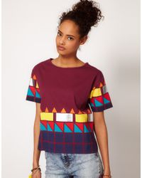 ASOS Collection | Multicolor Tshirt with Neon Blocked Hem | Lyst