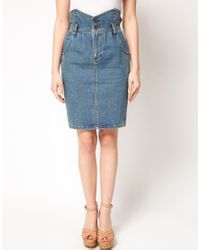 ASOS Collection | Blue Denim Pencil Skirt with Paperbag Waist | Lyst