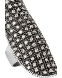 Ileana Makri | 18kt White Gold Shield Ring With Champagne Diamonds | Lyst