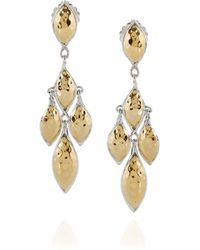 John Hardy - Metallic Leaf 22karat Gold and Sterling Silver Earrings - Lyst