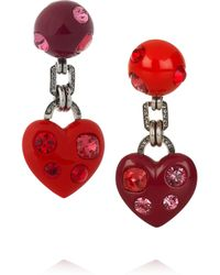 Lanvin | Red Swarovski Crystal Heart Clip Earrings | Lyst