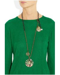 Lanvin - Metallic Swarovski Crystal Charm Necklace - Lyst