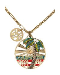 Lanvin - Metallic Swarovski Crystal Charm Necklace - Lyst