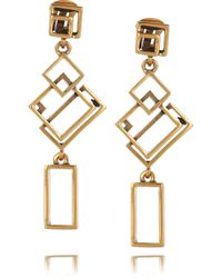 Oscar de la Renta | Metallic 24karat Goldplated Geometric Link Clip Earrings | Lyst