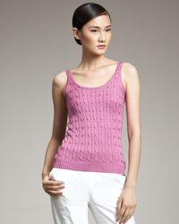 Ralph Lauren Black Label | Pink Silk Cable-knit Tank | Lyst
