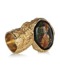 Saint Laurent | Metallic Arty Goldplated Glass Ring | Lyst