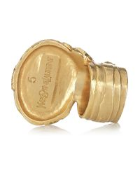 Saint Laurent - Metallic Arty Goldplated Glass Ring - Lyst
