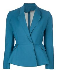 Acne Studios | Blue Turner Raw Cottonblend Peplum Jacket | Lyst