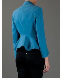 Acne | Blue Turner Raw Cottonblend Peplum Jacket | Lyst