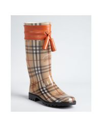 Burberry | Brown Tangerine Leather Accent Pvc Covered Signature Plaid Rain Boots | Lyst