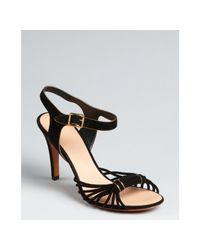 Céline | Black Knotted Suede Ankle Strap Heels | Lyst