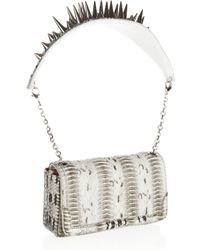 Christian Louboutin - Gray Artemis Spiked Watersnake Shoulder Bag - Lyst