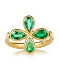 Marie-hélène De Taillac   Metallic Swivel 18karat Mattegold Emerald Ring   Lyst