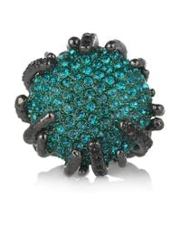 Roberto Cavalli | Blue Rhodium-Plated Swarovski Crystal Ring | Lyst