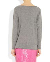 Vince | Gray Cotton Slub Jersey Sweater | Lyst