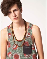 ASOS - Brown Chunky Wooden Bead Necklace for Men - Lyst
