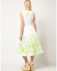 ASOS Collection - Green Asos Midi Dress with Neon Embellishment - Lyst