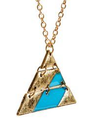 ASOS - Blue Asos Aztec Triangle Pendant Necklace for Men - Lyst