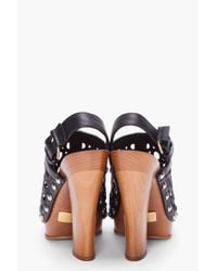 Marc Jacobs | Black Leather Wooden Clogs | Lyst
