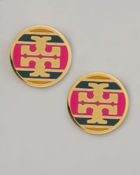 Tory Burch | Metallic Enamel Striped Logo Earrings Magenta | Lyst