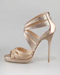 Jimmy Choo | Natural Garland Two-tone Glitter-coated Metallic Leather Sandals | Lyst