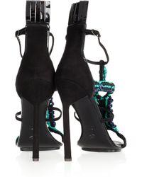 Proenza Schouler - Black Suede and Macramé Sandals - Lyst