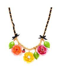 Betsey Johnson | Metallic Three Flower Statement Necklace | Lyst
