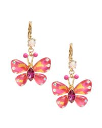 Betsey Johnson - Orange Butterfly Drop Earrings - Lyst