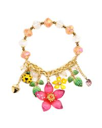 Betsey Johnson - Natural Flower and Ladybug Half Stretch Bracelet - Lyst