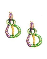 Betsey Johnson | Multicolor Snake Wrap Stud Earrings | Lyst