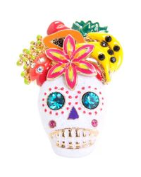 Betsey Johnson | White Skull Fruit Ring | Lyst