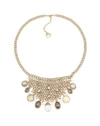 Carolee | Metallic Gold Tone Glass Pearl Bib Necklace | Lyst