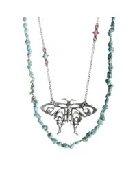 Eci | Blue Two Row Butterfly and Reconstituted Turquoise Necklace | Lyst