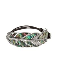 Fossil | Metallic Silver Tone Abalone Shell Feather Bracelet | Lyst