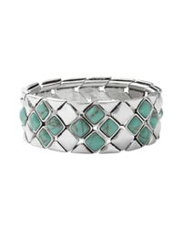Fossil | Metallic Silver Tone Reconstituted Turquoise Stretch Bracelet | Lyst