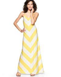 Gap Yellow Chevron Stripe Maxi Dress