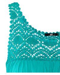 H&M   Blue Mama Frilled-sleeve Dress   Lyst