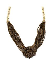 Jessica Simpson - Metallic Bronze Beaded Drama Necklace - Lyst