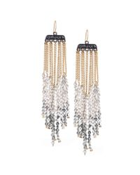 Kenneth Cole | Metallic Bead and Chain Linear Drop Earrings | Lyst