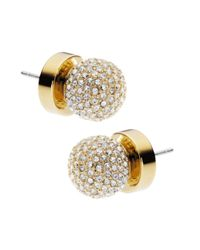 MICHAEL Michael Kors | Metallic Gold Tone Pave Fireball Stud Earrings | Lyst