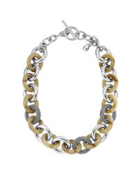 Michael Kors - Metallic Horn and Glass Toggle Necklace - Lyst