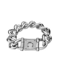 Michael Kors - Metallic Silver Tone Curb Link Lock Bracelet - Lyst